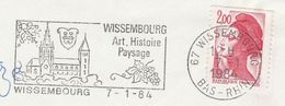 1984 WISSMBOURG France COVER SLOGAN Pmk Illus CHURCH , GRAPES Landscape History, Stamps Religion - France