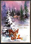 A8257 - Alte Glückwunschkarte - Weihnachten - Winterlandschaft Bambi - Cecami 4831 TOP - Ohne Zuordnung