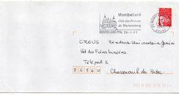 """Flamme-2001--MONTBELIARD--25 """"Cité Des Princes De Wurtemberg"""" (chateau)  -- Tp Type Marianne Luquet - Marcophilie (Lettres)"""