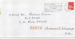 "Flamme-2000--CHINON --37  "" Chinon L'an 2000 "" (chateau,oiseau)   -- Tp Type Marianne Luquet - Marcophilie (Lettres)"