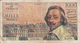 Billet  De  1000  Francs  RICHELIEU  -  L.4-10-1956.L  -   N°  41053  -  D.279 - 1955-1959 Opdruk ''Nouveaux Francs''