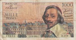 Billet  De  1000  Francs  RICHELIEU  -  L.4-10-1956.L  -   N°  41053  -  D.279 - 1955-1959 Sovraccarichi In Nuovi Franchi