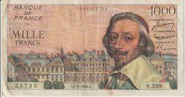 Billet  De  1000  Francs  RICHELIEU -  C.1-3-1956.C  -  N°  25733 -  S.239 - 1955-1959 Sovraccarichi In Nuovi Franchi
