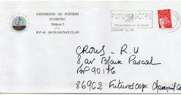 """Flamme-  2001--JAUNAY-CLAN--86 """" Futuroscope--Département De La Vienne """" -Université ICOMTEC- Tp Type  Marianne Luquet - Marcophilie (Lettres)"""