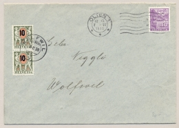 Schweiz - 1938 - 2x 10 Cent Overprint On Portomarke On Cover From Olten To Wolfwil - Strafportzegels