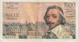Billet  De  1000  Francs  RICHELIEU  -  R.1-9-1955.R  -  N°  12410  -  Z.189 - 1955-1959 Opdruk ''Nouveaux Francs''