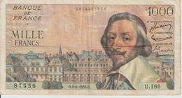 Billet  De  1000  Francs  RICHELIEU 6  O.2-6-1955.O  -  N°  87556  -  U.166 - 1955-1959 Opdruk ''Nouveaux Francs''