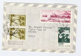 1970 ISRAEL AEROGRAMME To ITALY Multi Stamps Cover Ship Tree - Israel