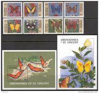 St. Vincent & Grenadines 1989. Michel #664/71+Bl.#46/47 MNH/Luxe. Butterflies. (Ts02) - Papillons