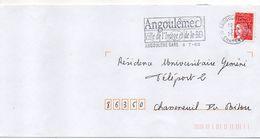 """Flamme Temporaire--2000-ANGOULEME-GARE 16-""""Ville De L'Image Et De La BD """" - Tp Marianne Luquet - Marcophilie (Lettres)"""