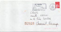 """Flamme --2000--LE HAVRE -76-""""Port De Croisière (bateau-paquebot) """" - Tp Marianne Luquet-cachet * - Postmark Collection (Covers)"""