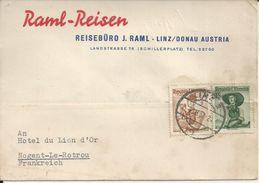 AUTRICHE RAIML REISEN REISEBURO J RAML LINZ DONAU CARTE ENVOYE A NOGENT LE ROTROU A L HOTEL DU LION D OR ANNEE 1957 - Autriche