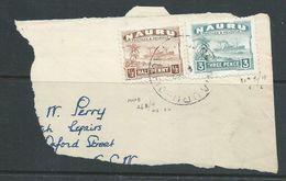 Nauru 1937 - 48  Ship Freighter 1/2d Brown & 3d Green FU On Large Piece To Australia, Nauru 1952 Cds - Nauru