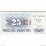 TWN - BOSNIA-HERZEGOVINA 54h - 25.000 Dinara 1993 (1992) Handstamp Date 24.12.1993 - SARAJEVO - Tall Red Zeroes UNC - Bosnia Erzegovina