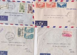 4 LETTRES LIBAN. BY AIR MAIL. RECOMMANDÉ. URGENT.   BEYROUTH  POUR LYON - Liban