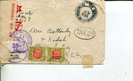 (444) Military WWII - V Mail - USA  To Australia Under Paid And TAXED - Passed Censor 25 - Militaria