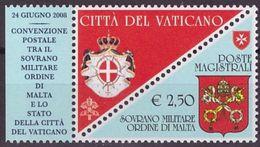 Emissione Congiunta SMOM/Vaticano - 2008 - Convenzione Postale - Serie Completa - Unused Stamps