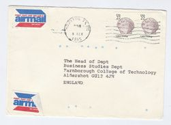 1985 USA COVER 2 X CALICO SCALLOP SHELL  Stamps To GB - Coneshells
