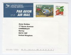 Air Mail USA COVER Stamps FISH, STRAWBERRY Fruit To GB Airmail Label - Fishes