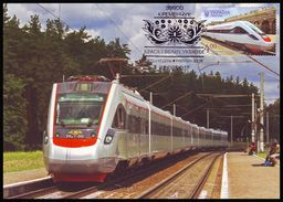 UKRAINE 2017. POLTAVA REGION. ELECTRIC TRAIN EKr1 ''TARPAN'', RAILWAY STATION. Mi-Nr. 1634 MAXICARD - CARTE MAXIMUM - Ucraina