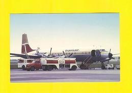 POSTCARD AIRPLANE DC-7 TRANSAIR AIRCRAFT & Truck Oil Car Cars  Airplanes - Flugwesen