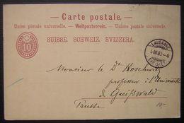 Suisse 1883 Entier Postal Avec Cachet De Lausanne EXP LET - Stamped Stationery