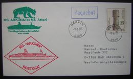 DDR 1986 MS. Arkona Rostock Paquebot (ex MS Astor) Cachet Narvik - Covers & Documents