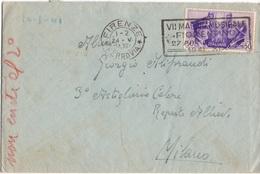FIRENZE (TARGHETTA - MAGGIO MUSICALE) Per MILANO - 24.5.1941 - Busta CON CONTENUTO 50c. FRATELLANZA D'ARMI 3/190 - 1900-44 Vittorio Emanuele III