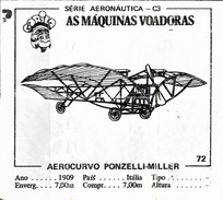 BUBBLE GUM / CHEWING GUM: GORILA - AERONAUTICAL SERIES / (2) FLYING MACHINES - 072 AEROCURVO PONZELLI-MILLER - Other