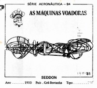 BUBBLE GUM / CHEWING GUM: GORILA - AERONAUTICAL SERIES / (2) FLYING MACHINES - 081 SEDDON - Vieux Papiers