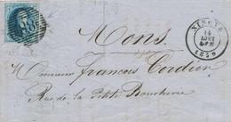 YY571 - Lettre TP Médaillon 20 C Cachet Barres 88 NINOVE 1859 - SUPERBE Entete Fabrique De Fil à Coudre à MEERBEKE - 1858-1862 Médaillons (9/12)
