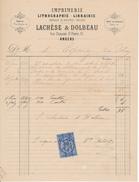 ANGERS, Maine Et Loire, 1880 - Imprimerie, Lithographie, Librairie LACHEZE & DOLBEAU - Imprimerie & Papeterie