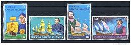 Turks And Caicos Islands, 1972, Explorers And Discoverers, Sailing Ships, Columbus, MNH, Michel 295-298 - Turks & Caicos (I. Turques Et Caïques)