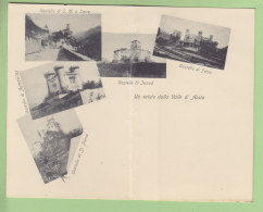 Valle Di Aosta : Un Saluto. Castello Fenis, Sarre, St Pierre, Aymavilles. Dos Simple. Val. Carte Double. 2 Scans. - Unclassified