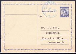 Tchécoslovaquie 1945, Entier (CDV 76), Obliteré, Voyagé - Postal Stationery