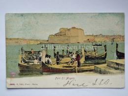 MALTA Fort St. Angelo Fishing Boat Barca Pescatori Cartolina Old Postcard - Malta
