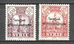 Turkey Sandjak Alexandrette 1938 Mi 1-2 MH - 1934-39 Sandjak Alexandrette & Hatay
