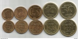 Yugoslavia  1992. Set Of 5 Coins UNC/AUNC 1 - 2 - 5 - 10  And 50 Dinara KM#149/53 - Yougoslavie