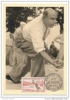 FRANCE => 4 Cartes Maximum - Série SPORTS 1958 - Jeu De Boules, Joutes Nautiques, Tir à L'Arc, Lutte Bretonne - 1950-59