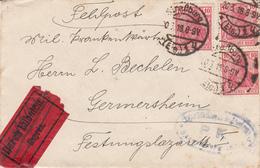 Env Affr Michel 86 X 3 Obl Straßburg / * (Els) 1. U Du 20.3.18 Avec étiquette DURCH EILBOTEN Adressée à Germersheim - Marcophilie (Lettres)