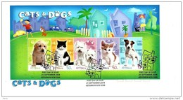 AUSTRALIA FDC CATS & DOGS ANIMAL SET OF 5 STAMPS ON M/S DATED 21-09-2004 CTO SG? READ DESCRIPTION !! - 2000-09 Elizabeth II