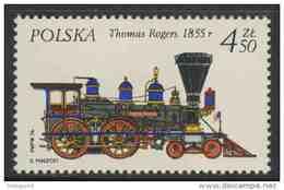 "Poland Polska Polen 1976 Mi 2433 YT 2268 ** Steam Locomotive ""Thomas Rogers"" (1855), USA / Dampflokomotive - Treinen"