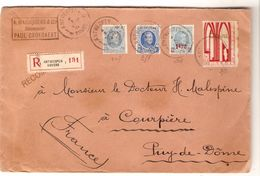 TP 207-257-248-238 Surtaxe S/L.recommandée Antwerpen 4/10/1928 V.France Courpière Puy De Dome AP1169 - Lettres & Documents