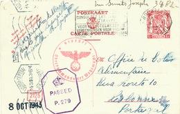 593/25 - Entier Postal Petit Sceau BRUXELLES 1943 Vers O.C.A. Undercover Agent à LISBONNE Pour Transfert à LONDRES - Guerre 40-45
