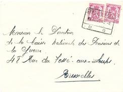 594/25 - Lettre TP Petit Sceau Cachet De FORTUNE Gare De OBAIX-BUZET 9 Aout 1940 Vers BXL - Guerre 40-45