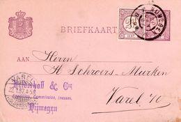 1896 Grootrond NIJMEGEN Op Bijgefrankeerde  Bk Met Firmastempel Naar Varel - Poststempels/ Marcofilie