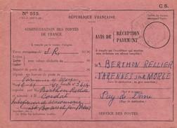 FRANCE- CARTE CACHET PERLE HEXAGONAL VARENNES-SUR-MORGE PUY-DE-DÔME 12.11.1962  /2 - Poststempel (Briefe)