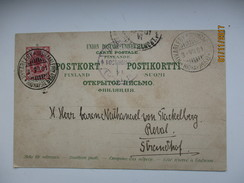 RUSSIA FINLAND KUDDNAS NYKAREBY UUSIKAARLEPYY VIA ST. PETERSBURG TO REVAL  , POSTCARD , RA - 1857-1916 Imperium