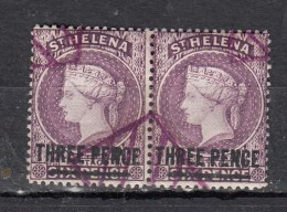 Sainte Héléne  Victoria  6p  Violet Surcharge Three Pence  Paire - Sainte-Hélène