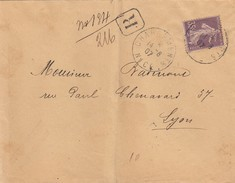 FRANCE- LETTRE R SEMEUSE 35c SEUL SUR LETTRE - CHARGEMENTS NICE 14.08.07 POUR LYON /2 - Postmark Collection (Covers)